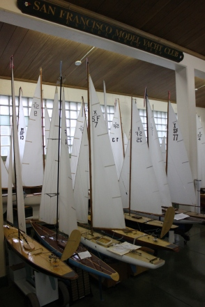Rows of sailboats stored inside the model yacht club boat house, Tuesday Feb 3rd 2015, Sprekles lake in golden gate park SF. Photo by Katie Sanders