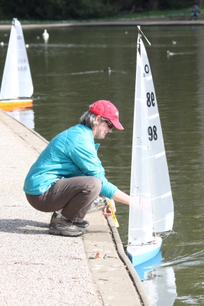 Maryrose Cassa, removes her boat from the Sprekles lake with care after racing in the practice competition, Tuesday Feb 3rd 2015 golden gate park SF. Photo by Katie Sanders