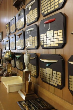 Wall of awards and trophies inside the model yacht club boat house, Tuesday Feb 3rd 2015, Sprekles lake in golden gate park SF. Photo by Katie Sanders
