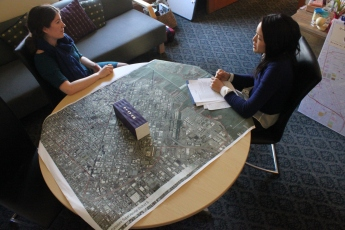Jane Kim (the district 6 board member of the board of supervisors)meets with her schedule organizer to plan out her week in her office at City hall in San Francisco CA on Monday 4/13/15, photo by Katie Sanders