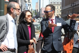 Jane Kim and elected official on San Francisco board of supervisors for district six speaks with other politicaians about traffic safety on one of the streets that has recently been changed so that it is safer for pedestrians. Tuesday 4/14/15 photo by Katie Sanders