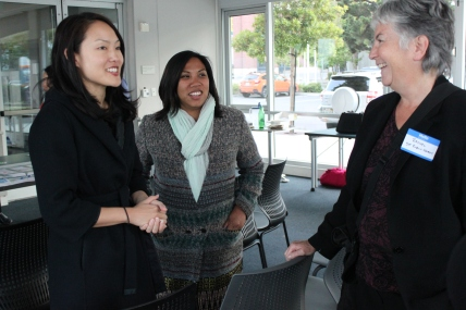 (left-right) Jane Kim, April Veneraction Ang, and Rachel Gordon discuss street planning issues at the Community Public Works meeting Monday night at South Harbor in San Francisco CA, Photographed by Katie Sanders.