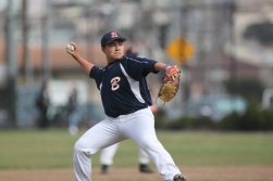 Balboa Bucks pitcher (Hector Rodriguez) pitches agains the Abraham Lincoln Mustangs in one of the last baseball games before championships, the Mustangs won 15-10. At Balboa Park's Sweeney Field. Monday April 20th, photographed by Katie Sanders.
