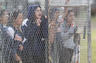 Balboa High School's girls Softball team shout words of encouragement for their teammates during the game against the Abraham Lincoln Mustangs on Thursday May 7th at Balboa Park San Francisco CA, Balboa won the game with 10-7. Photographed by Katie Sanders (5/7/15).