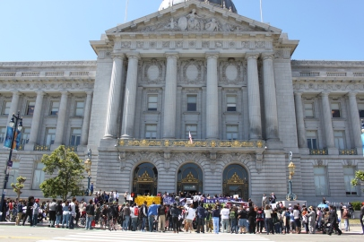 """Protestors for the Black lives matter protest covered the steps of City Hall as part of the """"Shut Down SF"""" event. Various groups protested against police brutality across the city as part of this event. Tuesday the 14th of April photo by Katie Sanders"""