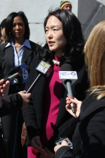 Jane Kim and elected official on San Francisco board of supervisors for district six speaks in front of SF city hall about traffic safety and the changes that are being done in the city. Tuesday 4/14/15 photo by Katie Sanders